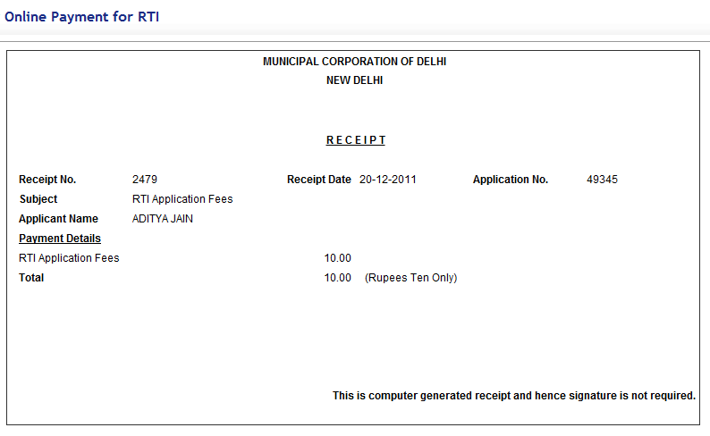 how to get receipt number for visa fee