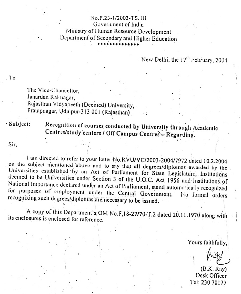 is rajasthan vidyapeeth university approved by ugc dec